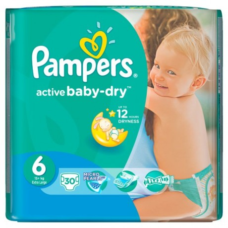 PAMPERS ACTIVE BABY DRY 6 EXTRA LARGE 30SZT