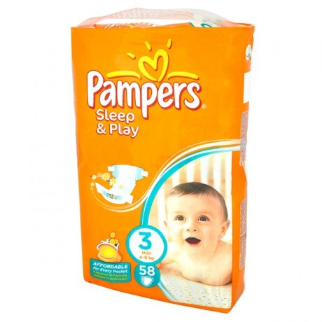 PAMPERS SLEEP & PLAY MIDI 4-9KG 58